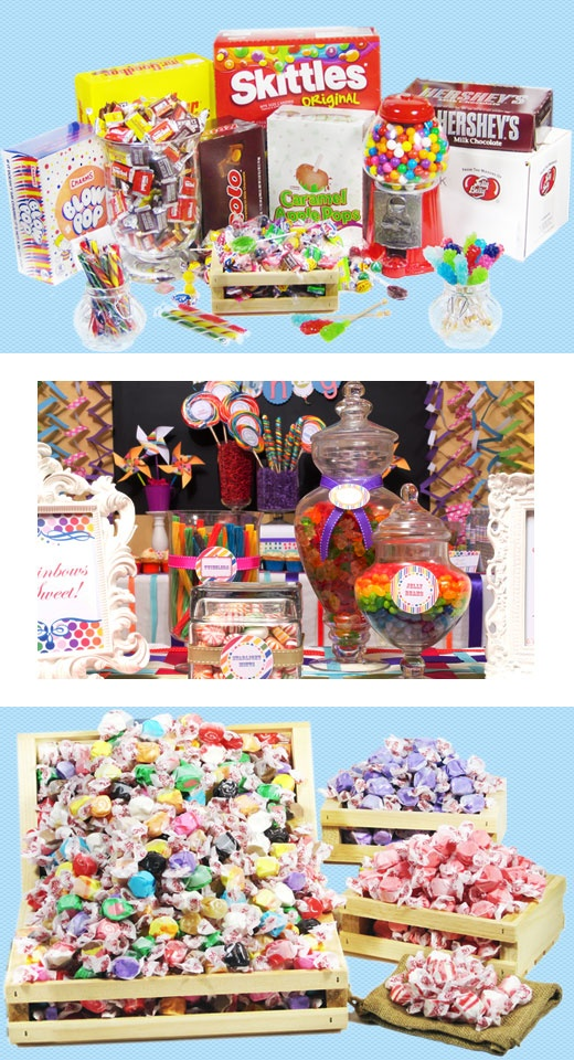 Buy candy in bulk at the lowest prices on the web,AND low flat rate shipping.Save yourself time and money.Candy buffets and candy for events,vending...and your personal stash.