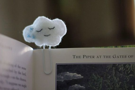 Cloud Felt Paperclip Bookmark by Willowfolk on Etsy- This cannot help but make you smile! :)