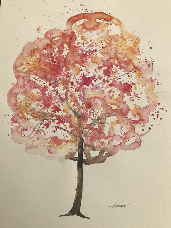 Original Watercolour Tree Of Life Artwatercolor Painting Xmas