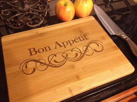 Bamboo Cutting Board Wood Burned With Quote Bon Appetit