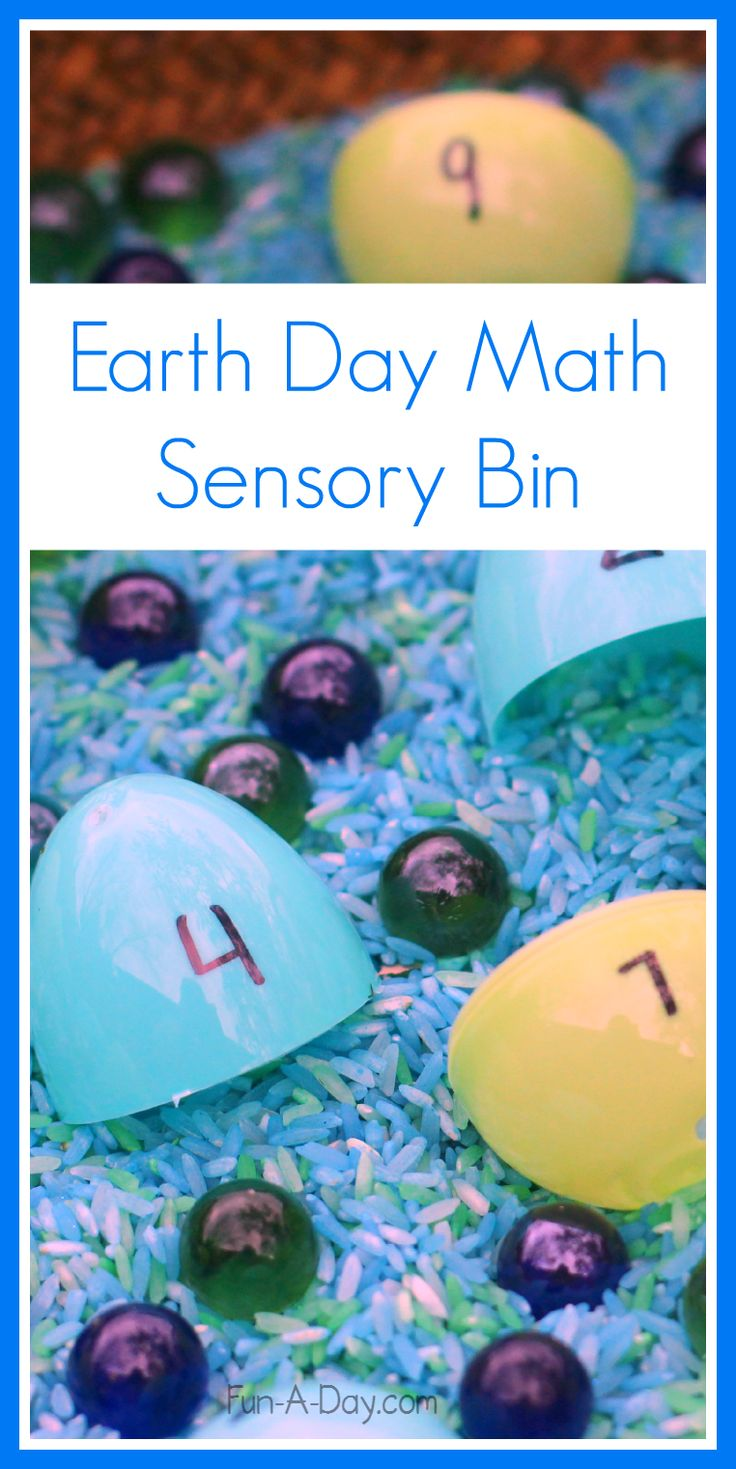 Preschool math and sensory play with an Earth Day sensory bin