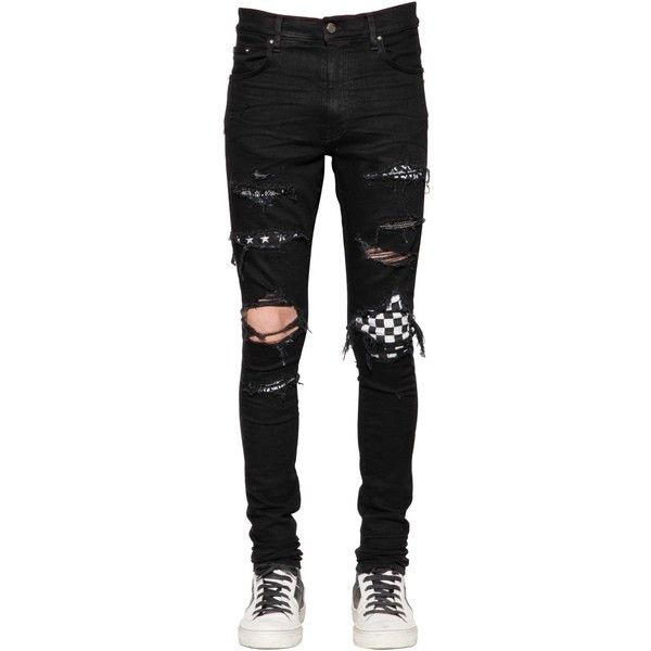 Amiri Men 15cm Patch Cotton Denim Jeans (5.810 BRL) ❤ liked on Polyvore featuring men's fashion, men's clothing, men's jeans, black, mens patched jeans, mens tapered jeans, mens torn jeans, mens skinny jeans and mens skinny fit jeans