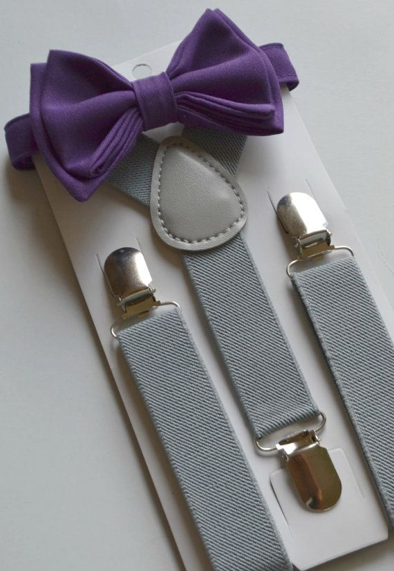 This stylish DARK PURPLE BOW TIE & LIGHT GREY SUSPENDERS are great for so many occasions!  BABY SET (6 - 18 mo):  ~ BOW TIE - pre-tied and made with a