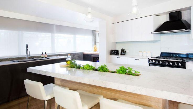 The Block   Andy U0026 Whitneyu0027s Kitchen In Polytec Natural Oak RAVINE And Bone  White Legato | The Block | Pinterest | Kitchens, Island Bench And Interior  ...