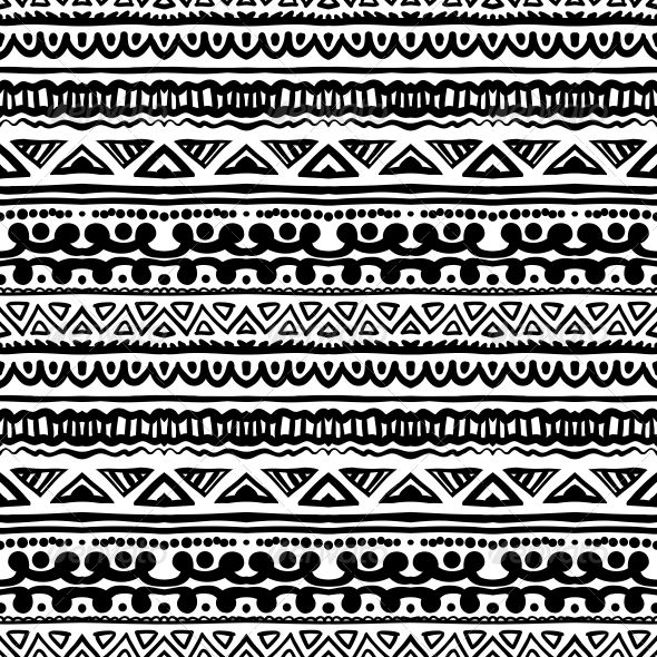 Striped Ethnic Pattern in Black and White  #GraphicRiver         Ethnic pattern in black and white with ornamental stripes. Texture for