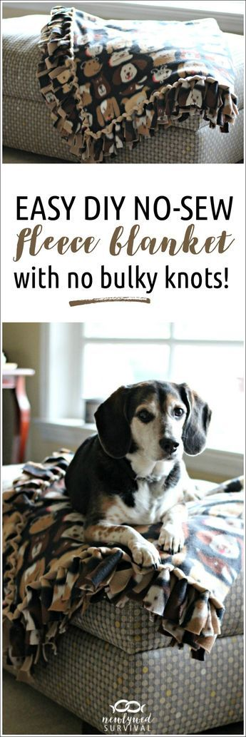 This is so easy! Pinning so I can make one for our bedroom. Easy DIY No-Sew Fleece Blanket without the Bulky Knots! #TreatingWithNutrish #NutrishPets [ad] http://newlywedsurvival.com/easy-diy-no-sew-fleece-blanket/