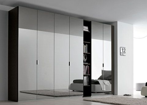 Sky Mirrored Door Wardrobe With Open Shelving