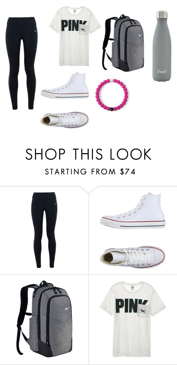 """""""how to wear pink"""" by kmmzki ❤ liked on Polyvore featuring NIKE, Converse, Victoria's Secret and S'well"""