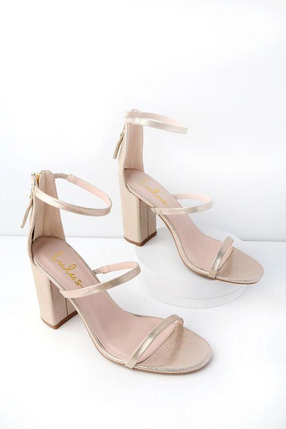 51da7bc81ec Candice Champagne Metallic Ankle Strap Heels in 2019 | fashion ...