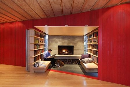 I like the idea not the contents...: Bohlin Cywinski, Houses, Labs Spaces, Libraries Nooks, Living Room, Fireplaces Nooks, Edge House, Cywinski Jackson, Inglenook Fireplaces
