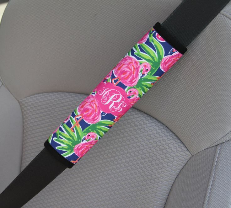 Monogrammed Seat Belt Cover, Personalized Custom Preppy Lilly Inspired Cute Car Accessories for Women Seatbelt Cover Seat Belt Pad Flamingo by ChicMonogram on Etsy