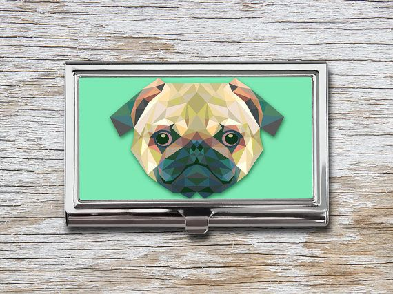 Geometric Pug Business Card Case - Triangle Pug - Low Poly Pug - Card Holder