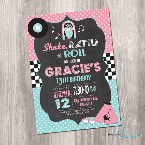 50's Birthday Invitation Fifties Birthday por StyleswithCharm