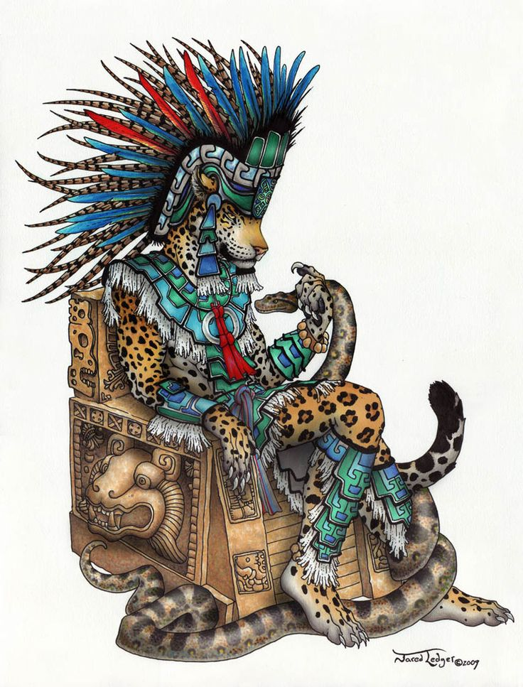 Tepeyollotl Jaguar/Earthquake god of the Aztecs, rules day-sign Calli (House)