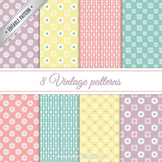 Vintage patterns in pastel colors