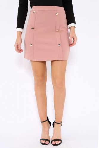 Rose Button Front Mini Skirt - Ramina
