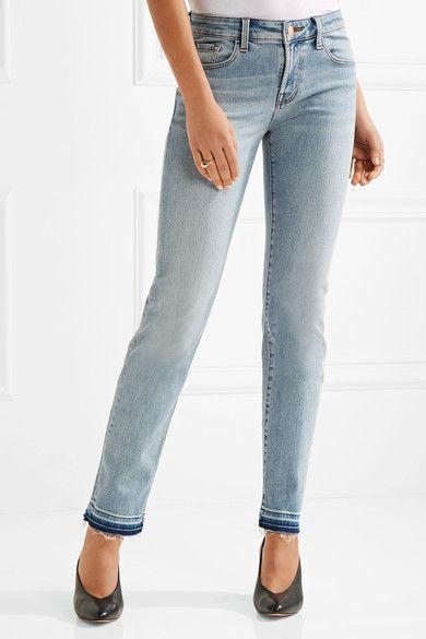 J Brand - Amelia Frayed Mid-rise Slim-leg Jeans - Light denim - 32