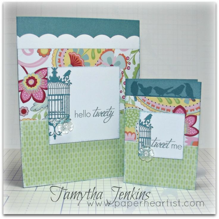 """Cards created with Close To My Heart """"Chantilly"""" paper and Hello Tweety Stamp.  By Tamytha Jenkins of www.paperheartist.com for New Product Blog Hop."""