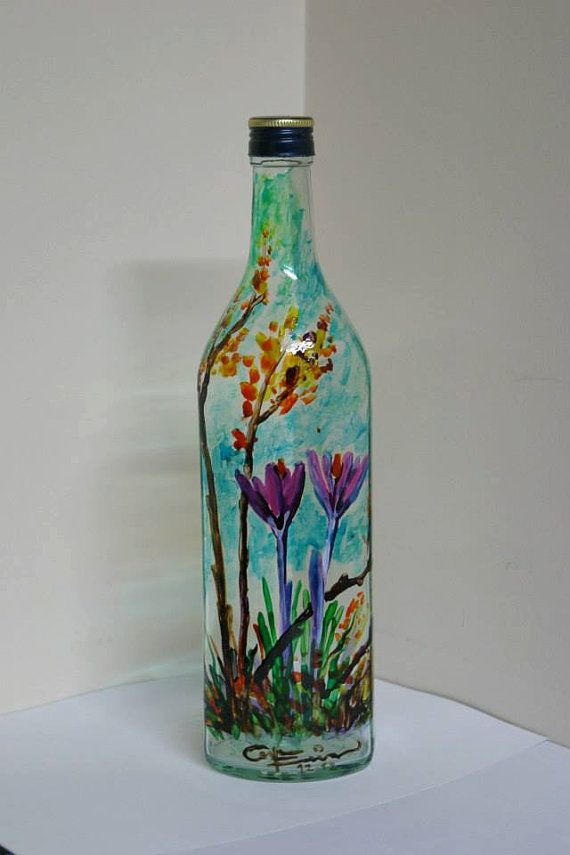 91 best hand painted bottles images on pinterest for Where to buy colored wine bottles