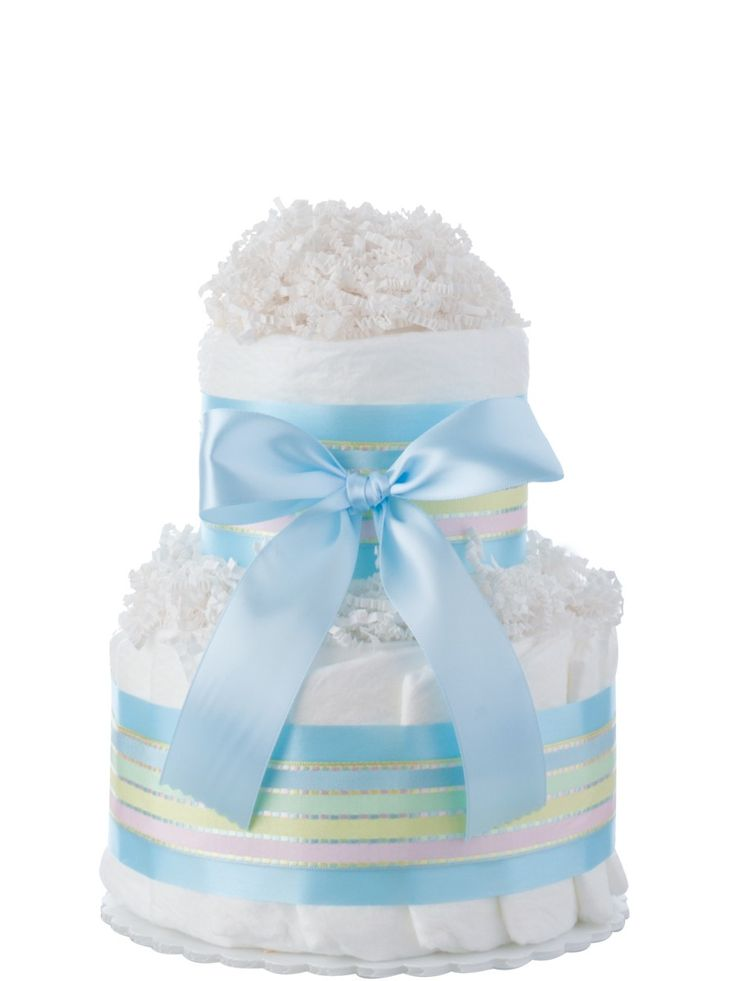 <p>A bundle of diapers has never looked so beautiful! This 2-tier Mini Diaper Cake is a thoughtful and unique baby gift, filled with 30 size-1 diapers from one of the best brands in the world: Pampers Swaddlers. Crafted by hand, our diaper cakes are beautifully presented to look like the real thing, making them perfect for celebrations. The proud parents will love the originality of the gift, the pretty pastel ribbon and blue satin bow – but they'll especially appreciate the generous supply…
