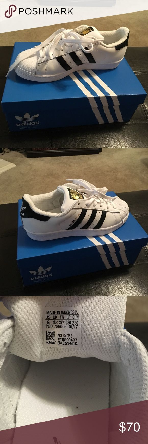 Adidas Original Superstar Size 6 shoes These are brand-new never worn Adidas original superstar shoes 💙 size 6 women's adidas Shoes Athletic Shoes