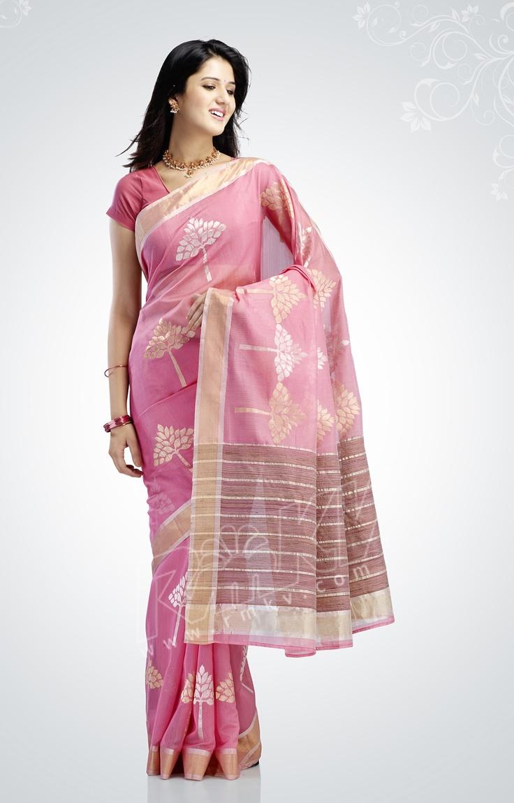 Rmkv Jaipure Silk Cotton Saree With Jari Border And Jari