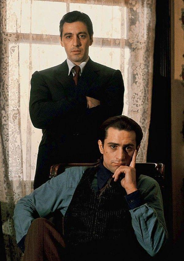 Al Pacino as Michael Corleone and Robert DeNiro as Vito Corleone in The Godfather (Part II) 1974 #celebrities