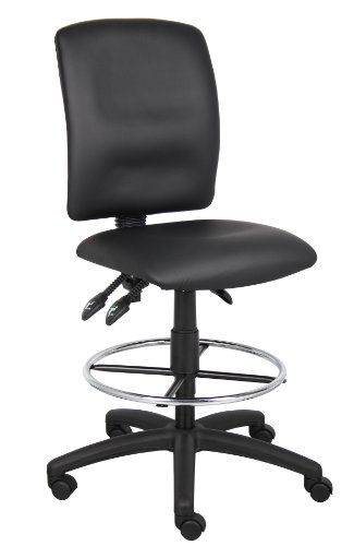 Boss Multi-Function Leatherplus Drafting Stool Without Arms Upholstered In Black Leather plus. Back Angle Lock Allows The Back To Lock Throughout The Angel Range For Perfect Back Support. Seat Tilt Lock Allows The Seat To Lock Throughout The Tilt Range. Pneumatic Gas Lift Seat Height Adjustment. Nylon Base with Hooded Double Wheel Casters and 20 Diameter Chrome Foot ring.  #BOSS #Art_and_Craft_Supply