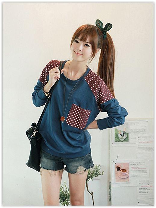 Korean Fashion & Beauty Sale, Up to 70% OFF! CLICK - Polka Dot Accent Sweatshirt