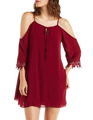 Gauzy Cold Shoulder Shift Dress with Crochet Trim: Charlotte Russe