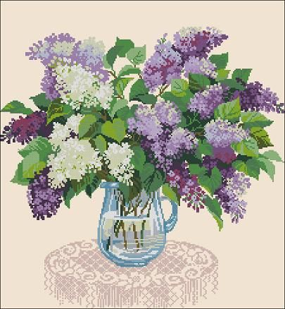 "Floral cross-stitch pattern ""Bouquet of lilacs"" Pattern Name:  Bouquet of lilacs Designed By: Cross-Stitch Club Company: Cross-Stitch Club Colors:  23 DMC Fabric: Aida 14, Cream 225w X 222h Stitches Size(s): 14 Count,   40.82w X 40.28h cm 16 Count,   35.72w X 35.24h cm 18 Count,   31.75w X 31.33h cm 22 Count,   25.98w X 25.63h cm Price: 5,90 …"