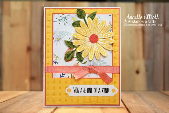 Daisy Delight works well with the Basket Weave Embossing folder.
