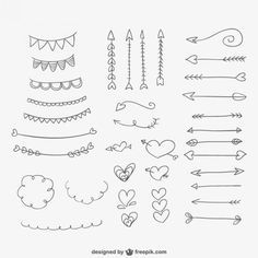 Mão, desenhado, ornamentos, corações e setas Vetor grátis