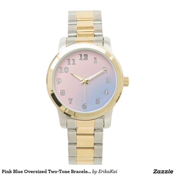 Pink Blue Oversized Two-Tone Bracelet Watch. Color: black, gold, silver or two-ton