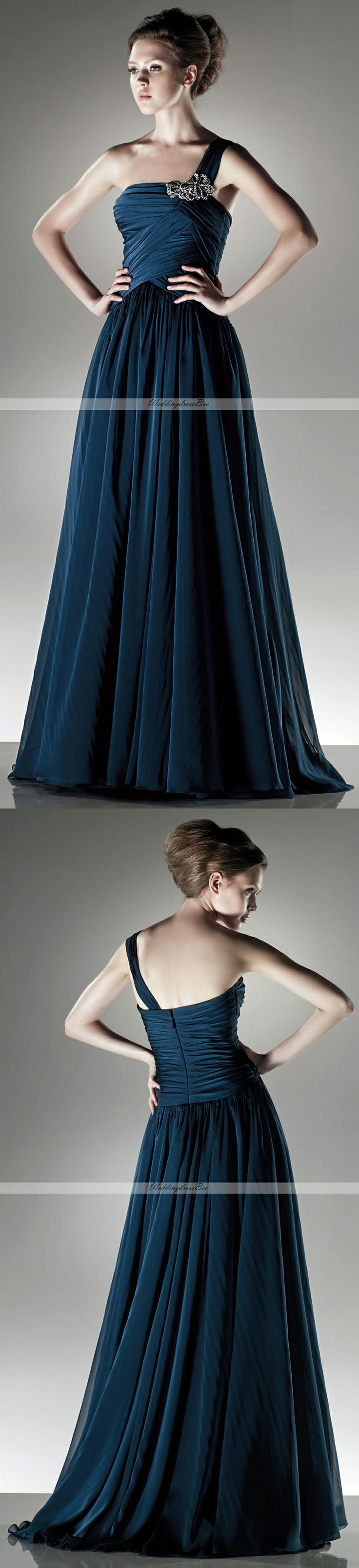 One shoulder A-line chiffon dress Courtney, it comes in royal blue.
