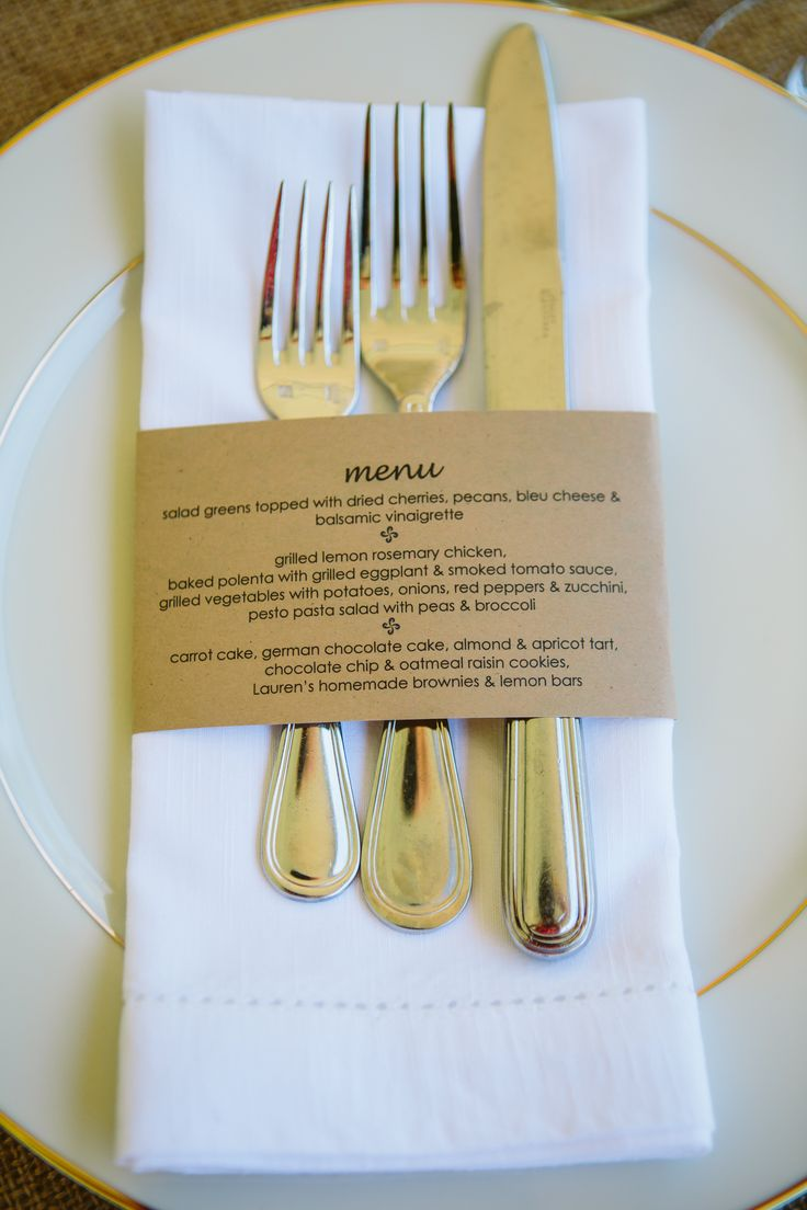 Napkin holder printed with a dinner party menu. So simple, yet so perfect.