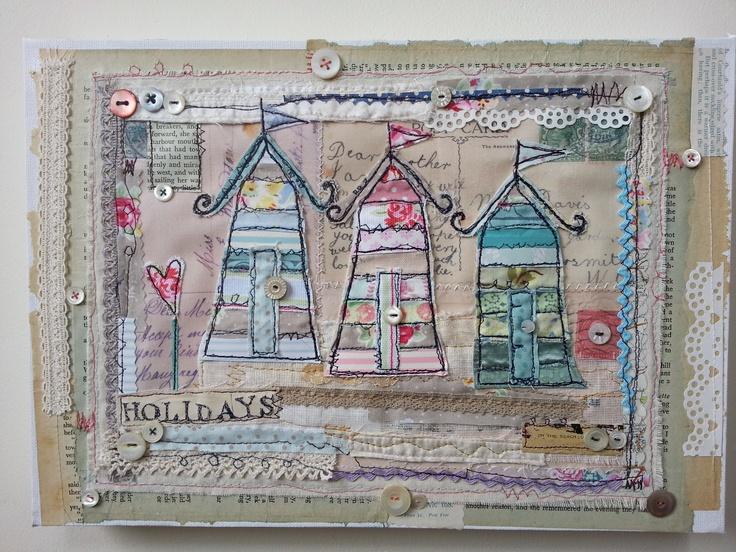 Mixed media on canvas  'Holidays on the beach'