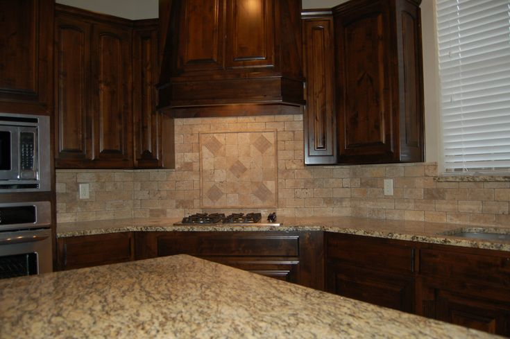 Beautiful Kitchen Dark Custom Cabinets Tumbled Marble Backsplash Santa Cecilia Granite Www