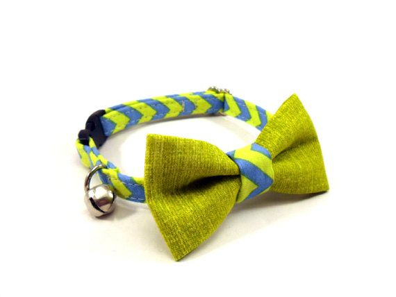 Cat Bow Tie Collar CHEVRON Lime Blue Cat Collar by GingersFriends