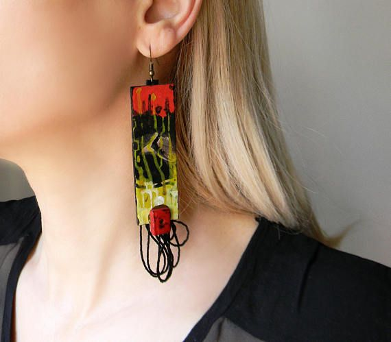 Extra long abstract paper earrings with black yarn and beads