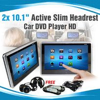 """2x 10.1"""" Slim Active Headrest Car DVD Player HD Touch screen Game USB SD 9"""""""
