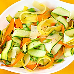 "VEGGIE RIBBON ""Pasta""  Make ""pasta ribbons"" with your vegetable peeler. Make peeling strips of Zucchini or Carrots, for example. When your pasta sauce is almost ready, in a non-stick pan drizzle some coconut or EVOO add the fresh peeled veggie to it, followed by Himalayan or Celtic Salt, pepper and desired spices. You can squeeze of lemon juice or a couple drops of white wine and ""heat"" until it's just wilted slightly. Pour sauce over veggie ribbons and enjoy with no guilt!  GO TEAM LUCKY…"