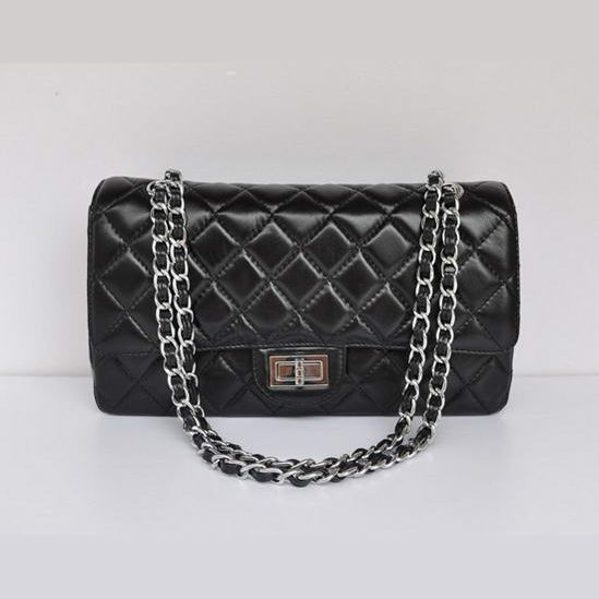 Replica Handbags - 1113 Chanel Classic Flap Bag 1113 Black Silver Cheap Replicas