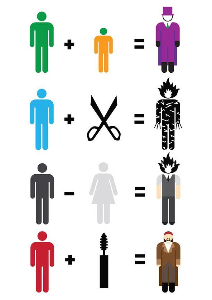 O designer escocês, Matt Cowan, fez contas minimalistas com super-heróis como os X-men, Super-homem, Mulher- maravilha, Quarteto fantástico, alguns personage