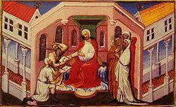 """Depiction of the Kerait ruler Ong Khan as """"Prester John"""" in """"Le Livre des Merveilles"""", 15th century"""