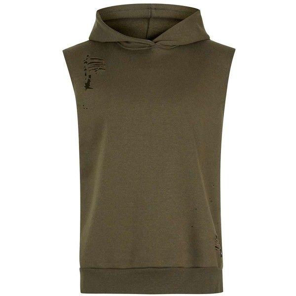TOPMAN Hype Khaki Distressed Sleeveless Hoodie ($56) ❤ liked on Polyvore featuring men's fashion, men's clothing, men's hoodies, green, mens sweatshirts and hoodies, mens cotton hoodies, mens patterned hoodies and mens hoodies