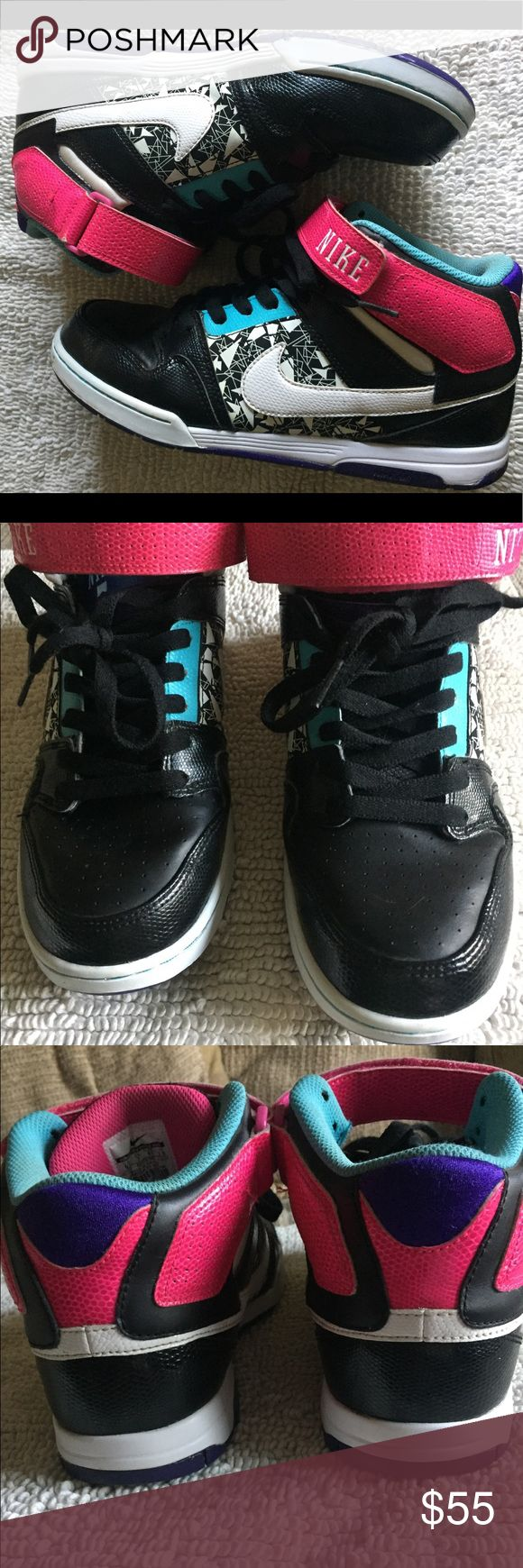 EUC women's Nike hi tops size 9.5 EUC nikes bought for my daughter but her feet outgrew pretty much right away so they were seldom used, still have lots of tread. Colors are hot pink, turquoise, white, black, purple and a geometric print. I tried to show pics of anything that might be consisted a flaw. The tiny mark near the front of the left shoe could probable be washed off.? Great addition to any collection or perfect for back to school. Reasonable offers welcomed Nike Shoes Sneakers