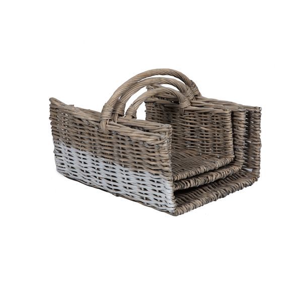 Hamptons Firewood Vintage Rattan basket set of 3 - Lifestyle Home and Living