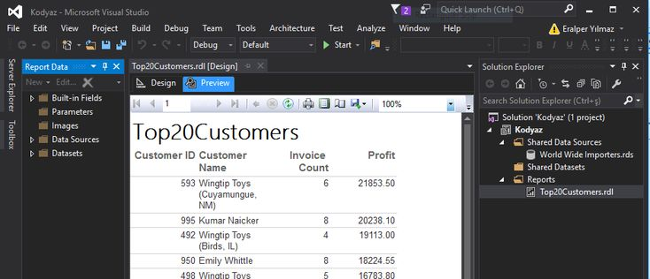 sample SQL Server 2016 Reporting Services report in Data Tools IDE