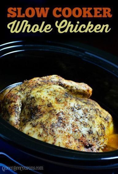 Crockpot Whole Chicken (slow cooker recipe) One of the easiest ways to cook a whole chicken is in a crockpot! The possibilities are endless, but I'm going to share two of my favorite recipes for cooking a whole chicken in a crockpot. Click this link to read more. Queen Bee Coupons